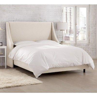 Skyline Custom Upholstered Swoop Wingback Bed - California King, Talc