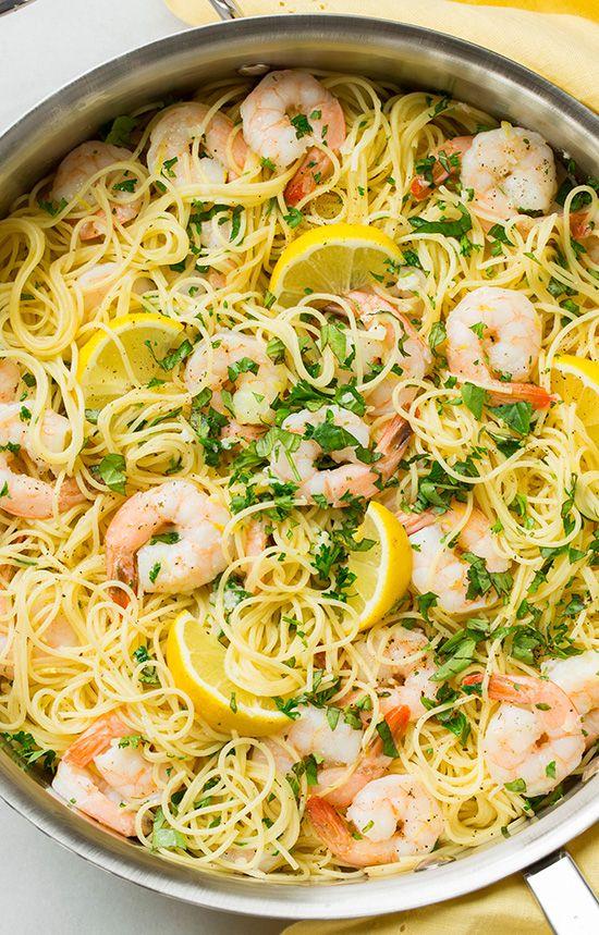 Lemon-Parmesan Angel Hair Pasta with Shrimp.