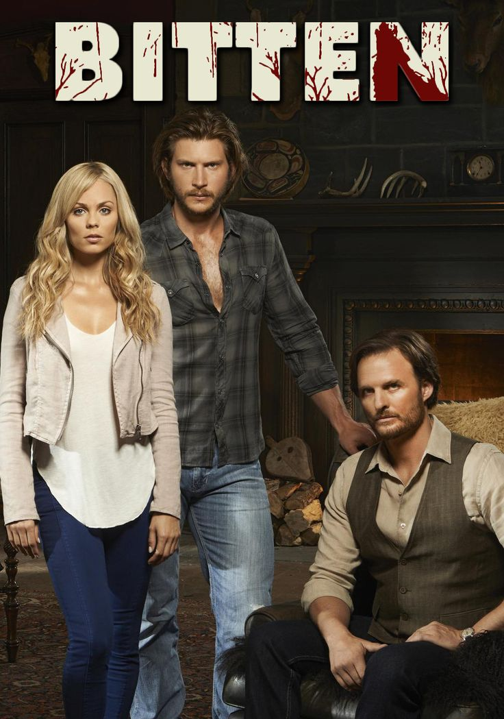 Three Canadians by actor Greyston Holt as Clayton Danvers, actress Laura Vandervoort As Elena Michaels, and Greg Bryk as Jeremy Danvers in Bitten TV Show. Bitten TV show about Werewolves.