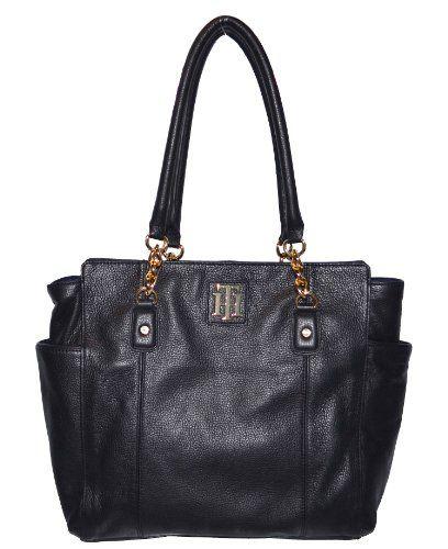 Tommy Hilfiger Genuine Leather Handbag Tote Black