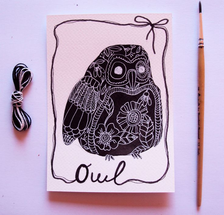 Gufo, Owl, cartolina con illustrazione originale : Disegni di so-quiet