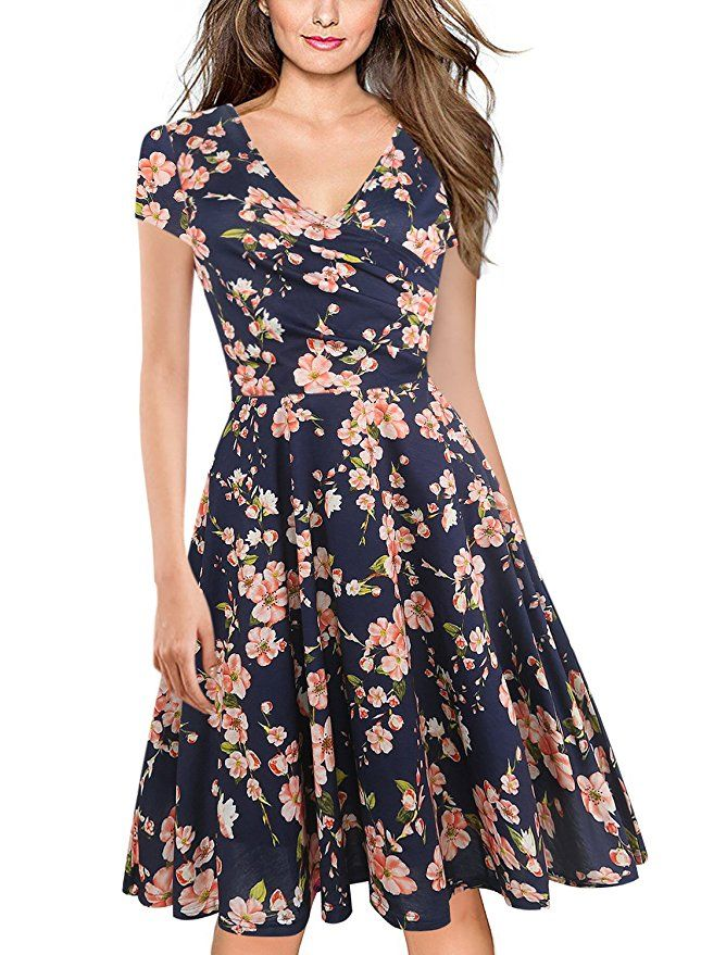 96d3cfb66fa oxiuly Women s V-Neck Cap Sleeve Floral Casual Work Stretchy Swing Dress  OX233 (M