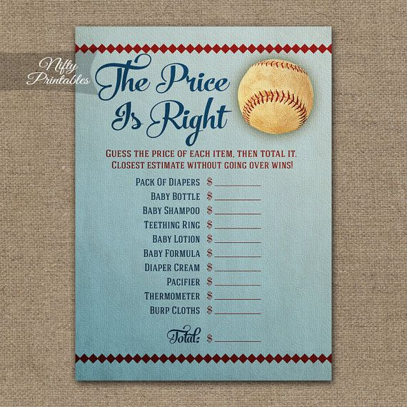 Price Is Right Baby Shower Game Baseball by NiftyPrintables