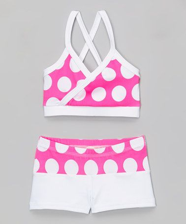 Neon Pink Polka Dot Mock-Wrap Top & Shorts - Toddler & Girls by Niva-Miche Clothes #zulily #zulilyfinds