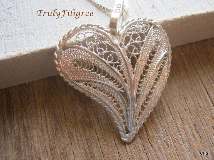 Heart Pendant, Handmade Jewelry,Filigree Heart, Silver Heart Pendant,Silver Pendant