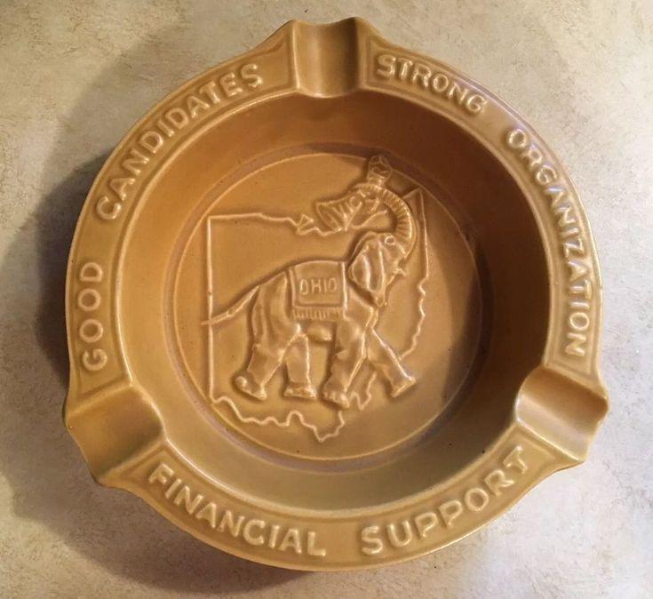 Vtg Ohio Republican Party Pottery Ashtray In Appreciation Ray C Bliss 6 9 1965  | eBay