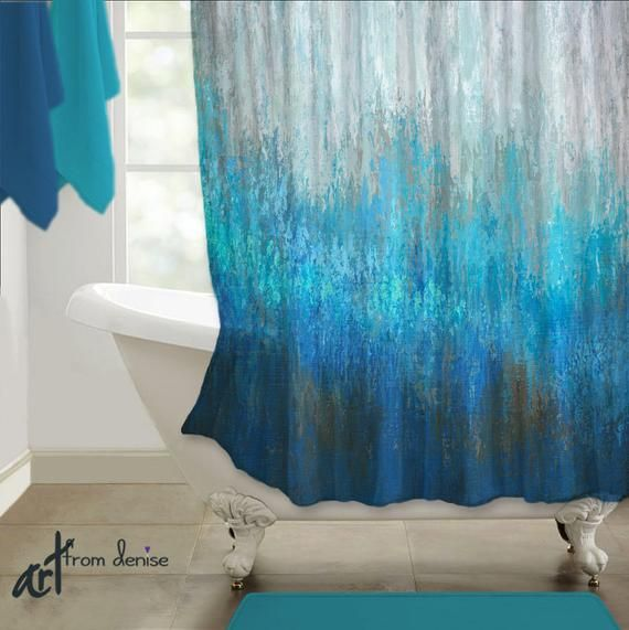 Abstract Brown Aqua Gray Navy Blue Shower Curtain For Etsy