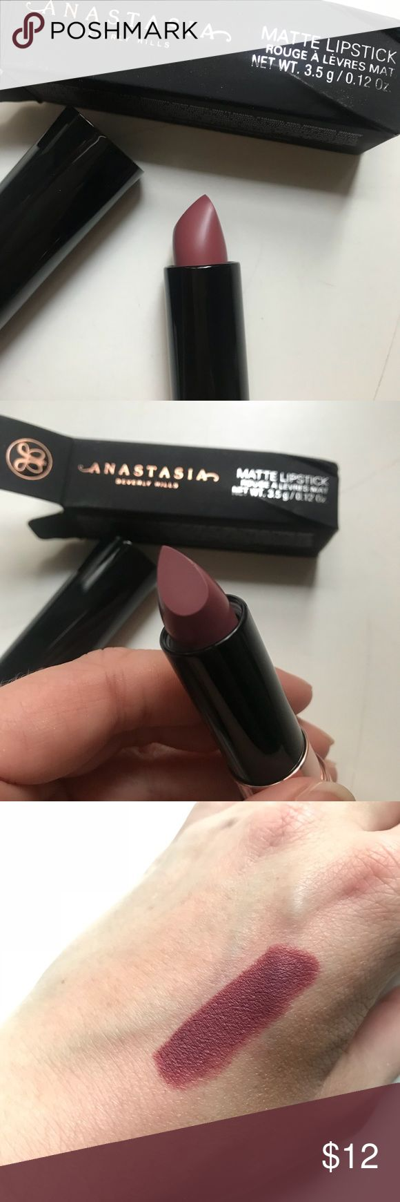 Anastasia Beverly Hills Matte Lipstick -Dead Roses Accidentally bought two during the Black Friday sales. Product is untouched and comes in original packaging (box was a little squished in shipping but product is not damaged). Swatches are from my own product. Unique grey mauve shade. Very pigmented. Cool tone is great for this time of year! Anastasia Beverly Hills Makeup Lipstick
