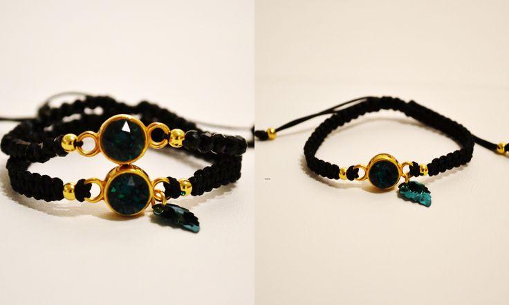Bracelets, swarovski stones, macrame, beads, black, green, Il Tacco!!!