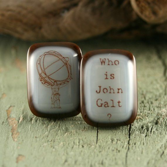Atlas Shrugged Fused Glass Cuff Links by YourImagesInGlass on Etsy, $35.00