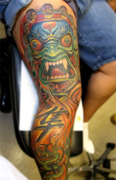 color tattoos on dark skin | Off the Map Tattoo : Tattoos : Color : Oriental leg