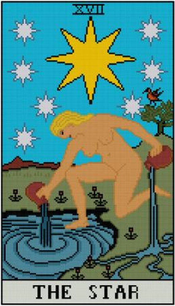 The Star Tarot Card cross stitch pattern PDF Major Arcana Divination