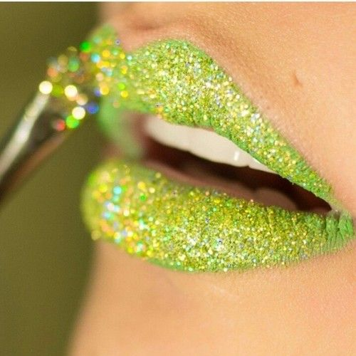 Lime green glitter lips! Love this because it's my favorite color but would never do it!