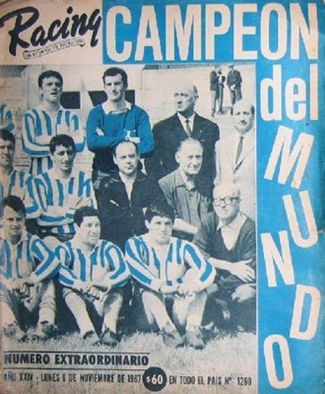 """TAPA EDICIÓN ESPECIAL DEL DIARIO """"EL GRÁFICO"""" DEL LUNES 6 DE NOVIEMBRE DE 1967, EN EL QUE DICE """"CAMPEÓN DEL MUNDO"""" AL """"RACING CLUB DE AVELLANEDA"""""""