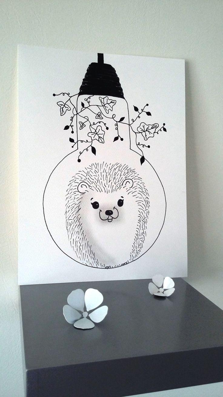 """Affiche Illustration Noir et blanc ampoule """"douceur des sous-bois"""" : Affiches, illustrations, posters par stefe-reve-en-feutrine"""
