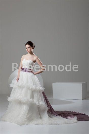 Robe de mariée traîne palais jupe à plusieurs niveaux sans bretelles