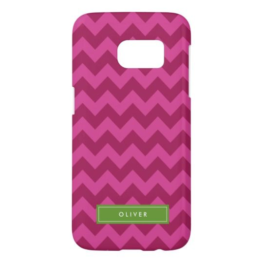 Purple Chevron Personlize with Name Monogram Samsung Galaxy S7 Case by Rosewood and Citrus on Zazzle