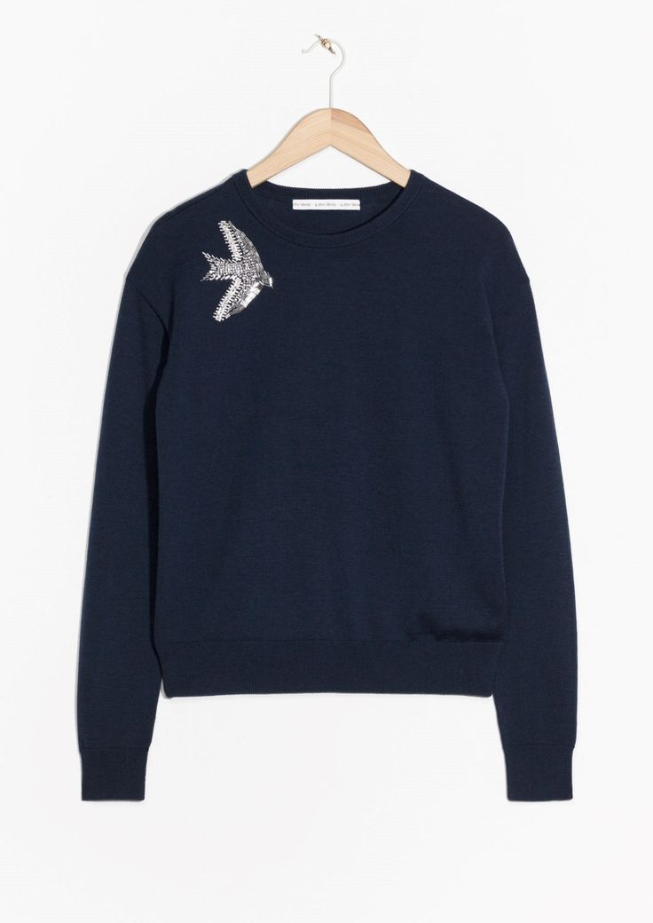 & Other Stories image 1 of Bird Embroidery Sweater in Dark Blue