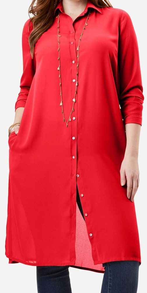7fa30d2edcf4f  29.99  New Roaman s Hot Red Button Down Super  Tunic Women s Plus Size 32W  3X NWT  Roamans  Blouse