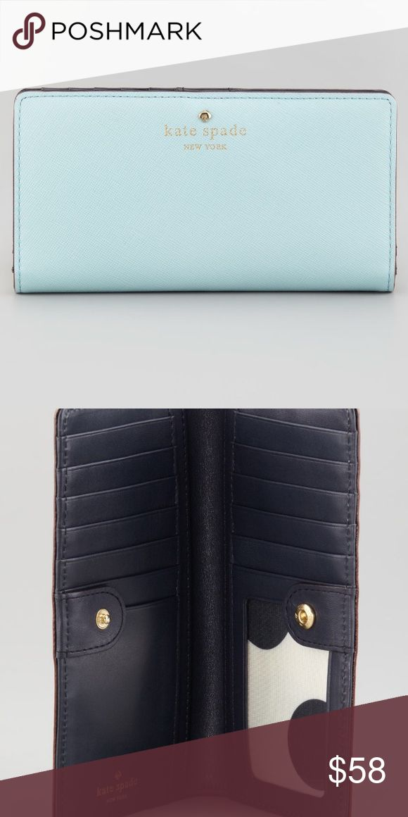 "Kate Spade Cherry Lane Stacy Wallet Light Blue This kate spade new york wallet features a slim silhouette and saffiano leather to keep your most valuable plastics and precious metals stowed in style. Saffiano leather. Foiled logo text and metal spade. Exterior back zip pocket. Folded bottom with snap tab top. Inside, 12 card slots, 1 clear ID window, 4 bill slots. 3 1/2""H x 6 3/4""W. kate spade Bags Wallets"