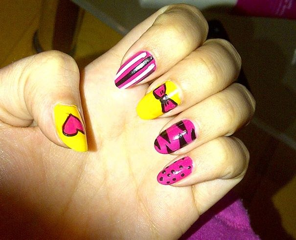 Pink & Yellow by fragola from Nail Art Gallery