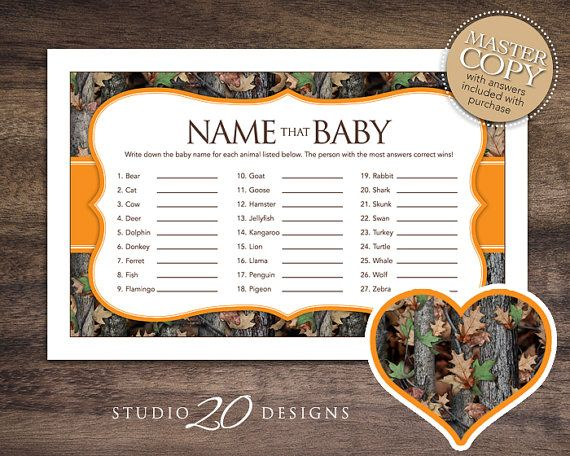 Instant Download Camo Baby Shower Name That Baby Game, Realistic Hunter  Orange Camouflage Baby Name Game, Camo Theme Baby Shower Game 31E