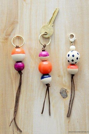 Use old nail polish to create colorful key charms.