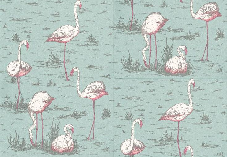 Flamingos (66-6044) - Cole & Son Wallpapers - Fantastic feature wall paper with white and pink flamingoes on a duck egg blue background. Please order a sample for true colour match.