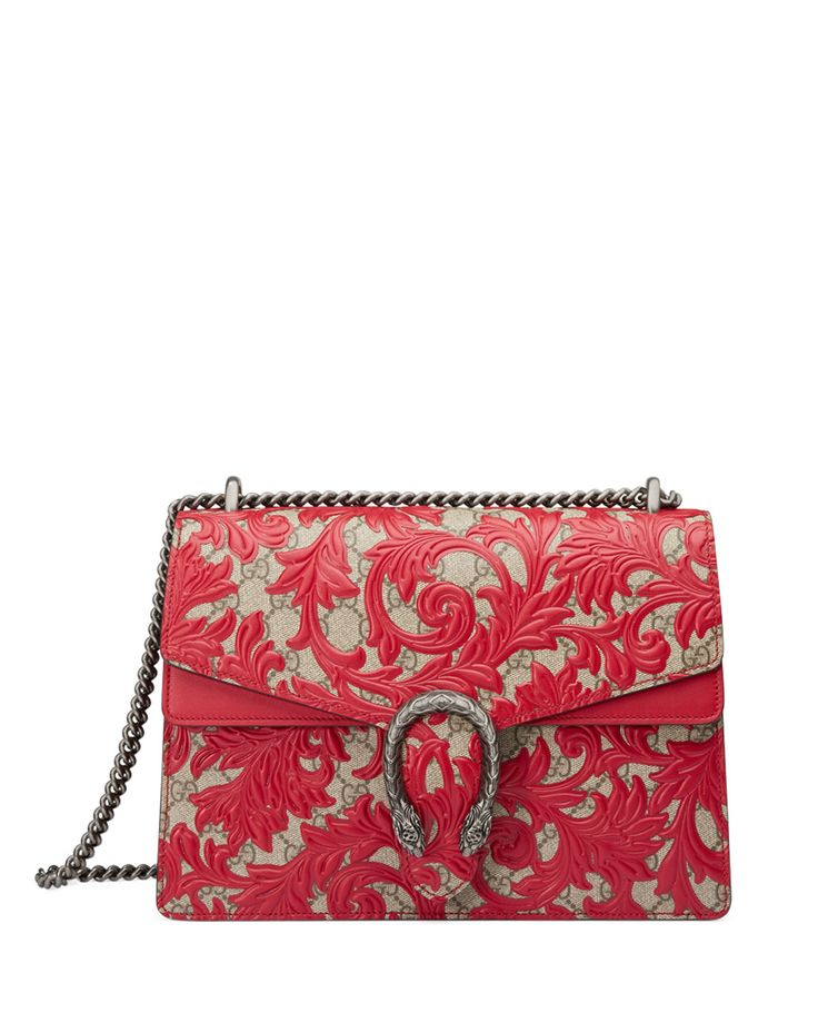 Dionysus Arabesque Shoulder Bag, Red, Gg With Red Lthr - Gucci