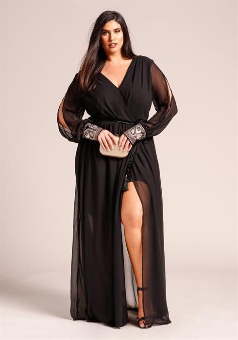 Plus Size Slit Embellished Sleeve Maxi Dress | Womens ...
