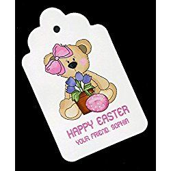 Easter Gift Tags, Bear with Tulips, Personalized Set of 25