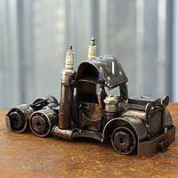 Auto part statuette, 'Rustic Semi Truck Cab'