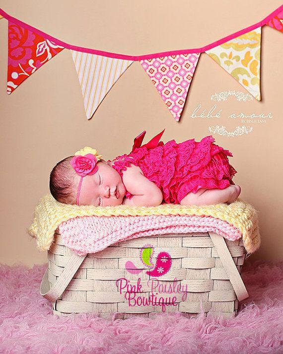 Coming home Outfit 2PC Neugeborenen legen. Rosa Spitzen Petti Strampler. Rosa Strampler - Cake Smash Outfit. Baby Girl 1st Birthday-Outfit. Krankenhaus-Fotos