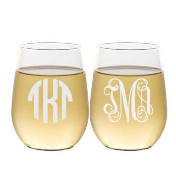 monogram stemless wine glasses