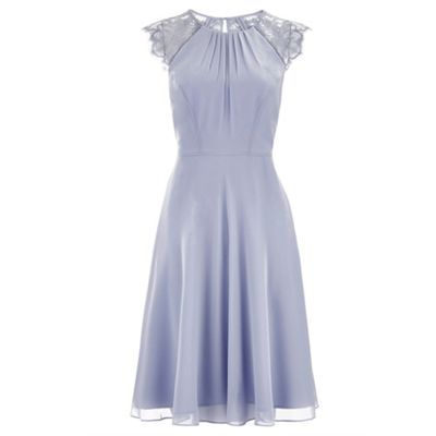 The elegant Bluebell dress is crafted with a softly-gathered bodice with a round-cut neckline, and adorned with lace cap sleeves with scalloped edges. The insert binding on the waist accentuates the narrowest part of the silhouette, while the gently-flared skirt creates a feminine finish. Features a keyhole button detail, and a concealed zip fastening on the reverse. Fabric swatches for colour matching included.