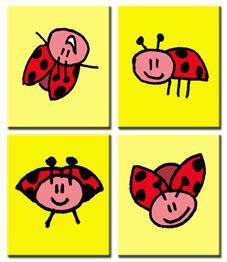 Lieve lieveheersbeestjes! Wil je liever blauw dan geel? Dat kan, je kunt de achtergrondkleuren zelf bepalen!