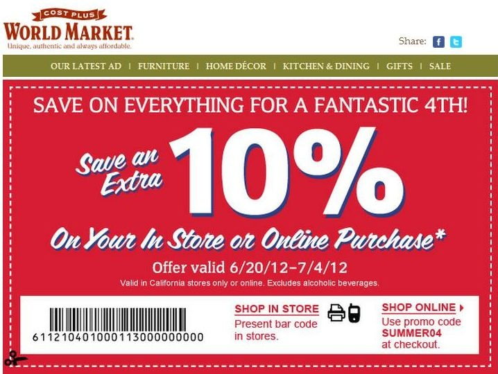 World market discount coupons