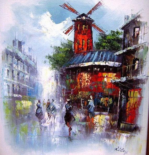 Vintage Paris Street Scene Wall Art Moulin Rouge By