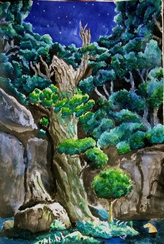 watercolor painted scene from Princess Mononoke