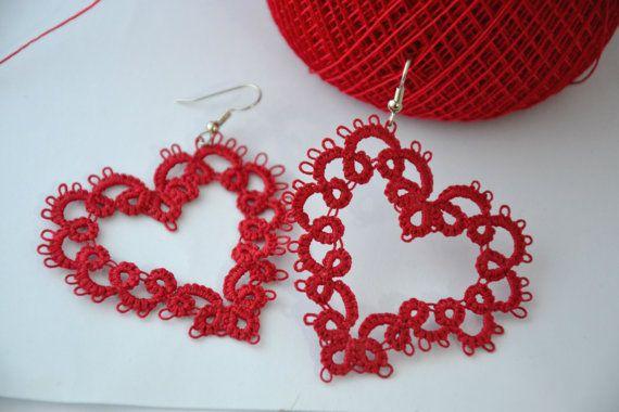 Orecchini pizzo chiacchierino cuore rosso di MariluCrochet