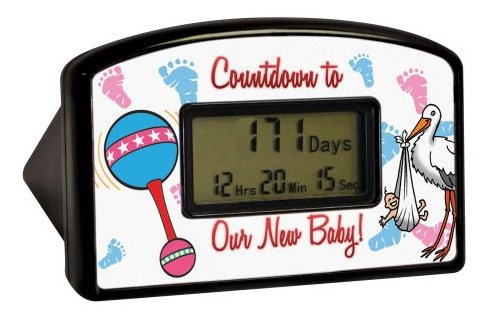 "Big Mouth Toys Countdown Timer - New Baby (Blister) Are you expecting a bundle of joy? Count down the hours, minutes and seconds with this desktop countdown clock. The clock is 4"" wide by 2.5"" high. Once the clock reaches the milestone, it can be reset to start counting again. Reset it over and over through the year 2099 for years of enjoyment."