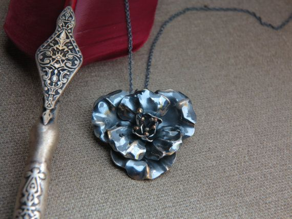 Silver flower pendant  Unique jewelry  Handmade by NPSilverStudio #jewelry #etsy #pendant #sterling #silver #flowers #fashion #art #gift