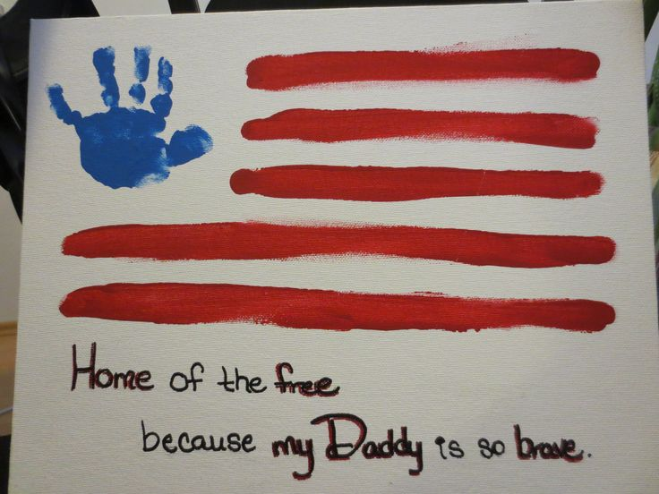 My daughter's handprint... my husband is deployed... Home of the free because my Daddy is so brave.