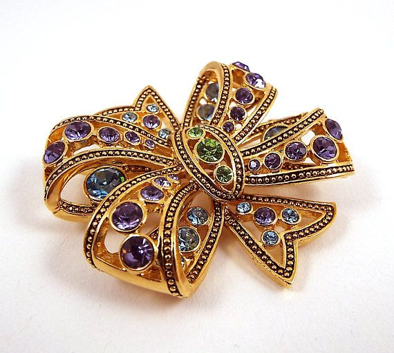 Vintage Rhinestone Bow Brooch  Large Bow Pin  Multi Colored
