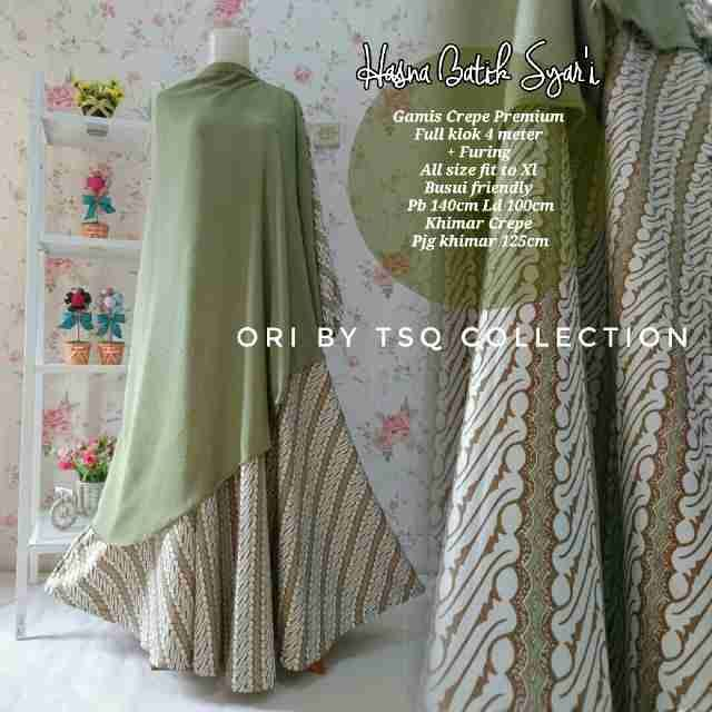 Baju Muslim Katun Premium B112 Hasna Batik Terbaru - http://bajumuslimbaru.com/baju-muslim-katun-premium-b112-hasna-batik #BajuMuslimBatik, #BajuMuslimUmbrella