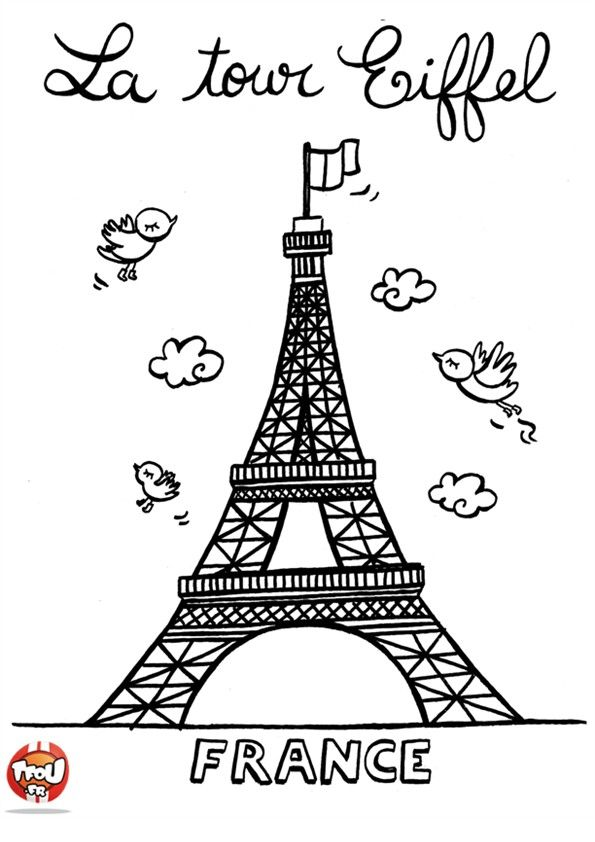 coloriage tour eiffel mignon cahier d 39 activites. Black Bedroom Furniture Sets. Home Design Ideas