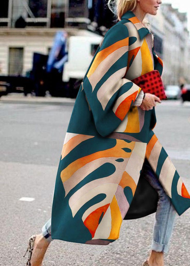 Fashion Printed Colour Long Sleeve coat 3