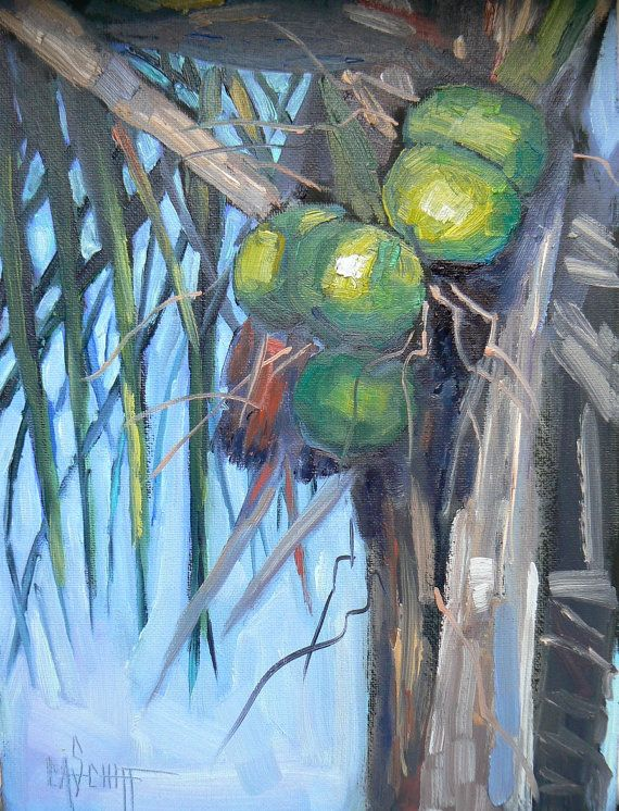 Daily Painting Still Life Going Coconuts 6x8 by CarolSchiffStudio, $94.95