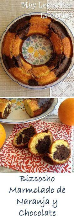 Bizcocho Marmolado de Naranja y Chocolate: Dos colores y dos sabores que combinan muy bien entre ellos. Encuéntralo en www.muylocosporlacocina.com.