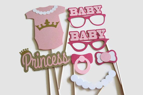 Princess Baby Shower Photo Booth Props - Set of 12 - Photo booth Props - It's a Girl Baby Shower - Pink and Gold Decoration - Centerpieces